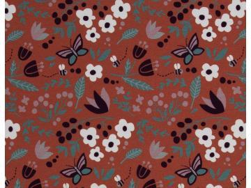 French Terry, Meadow by Käselotti unangeraut Blumen, Bienen terracotta