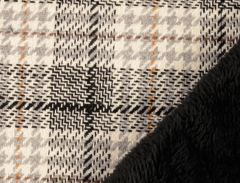 Hahnentritt mit Fellabseite, schwarz,grau