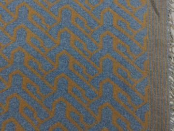 Strick-Doubelface mit Fransen, Strick, graublau-senf