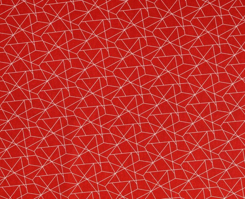 Baumwoll Druck rot grafisch