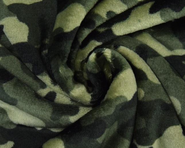 Flanell Fleece Baumwollgem. Camouflage oliv