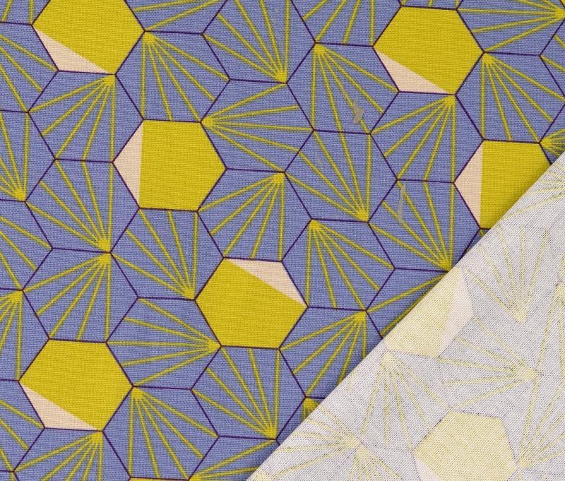 Canvas Druck,Raute, graublau-senf-violett