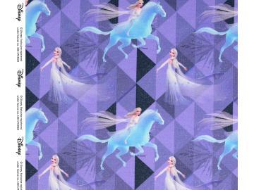 French Terry, BW Frozen 2 Eispferd violett, angerauht