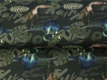 French Terry BW, Dinosaurier  grün, Digitaldruck