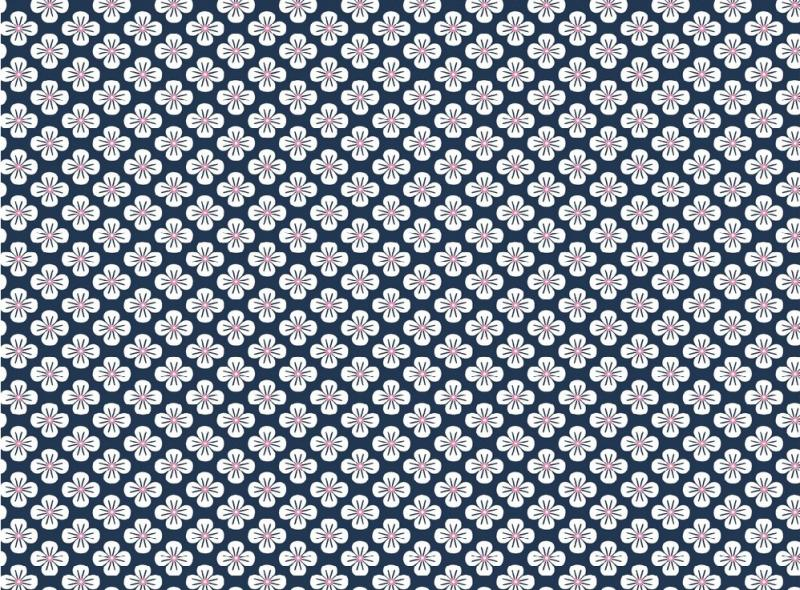 Popelinstoff BW, Blüte dunkelblau