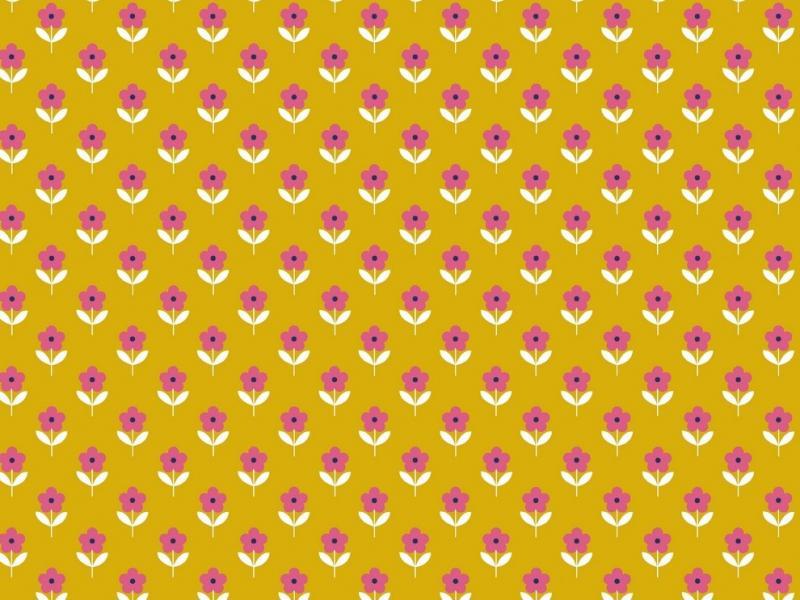 Popelinstoff BW, Blume gelb