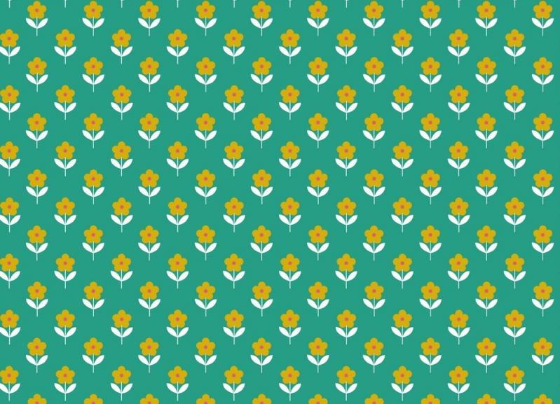 Popelinstoff BW, Blume grün