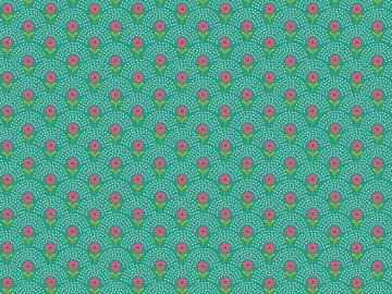 Popelinstoff BW, Blumewiese grün