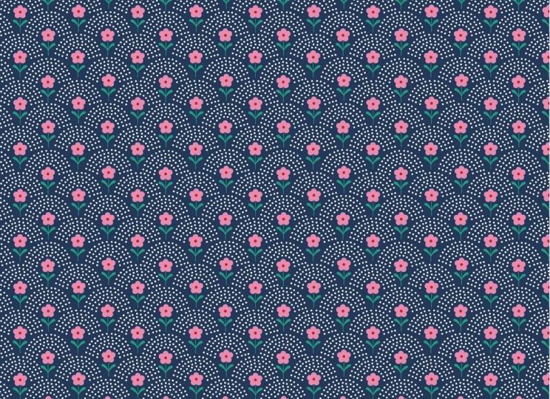 Popelinstoff BW, Blumewiese dunkelblau