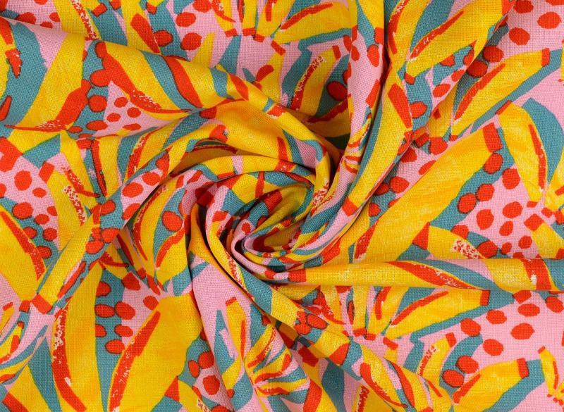 Leinen-Viskose  Abstrakte Bananen hellrose
