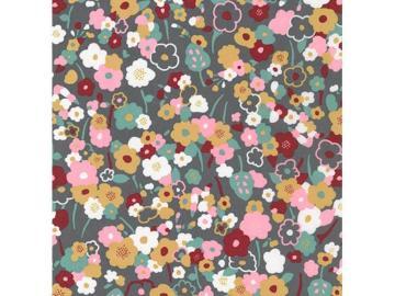 0,80m Florales Design Webware BW, grau bunt