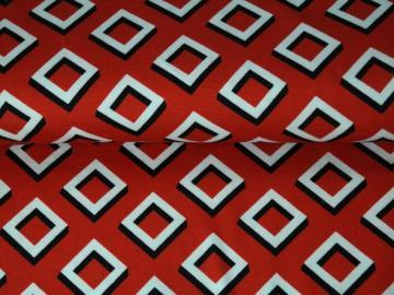 Raute Jersey, Baumwolle, rot-weiß-schwarz