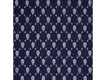 Jacquard, Mateo Baumwolle/Lurex  Totenkopf d.blau-silber