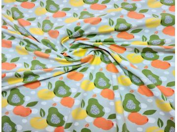 Jersey, Obst Organic Baumwoll  Druck  mint, orange, gelb, orange