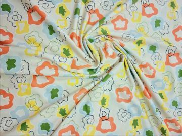Jersey,Blumen Organic Baumwoll  Druck  creme grün gelb orange