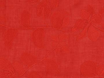 Batist Blütenranke gesticket, rot