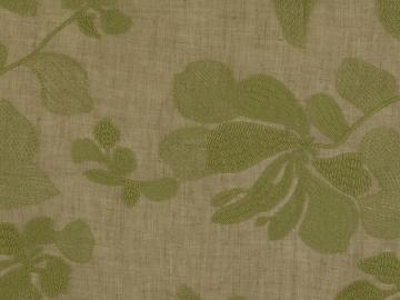 Batist Blütenranke gesticket, oliv