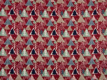 Baumwolle Tannenbäume rot