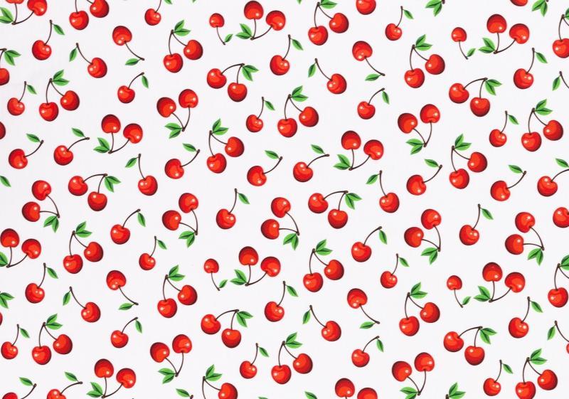 Baumwollstoff Kim Kirschen weiß-rot