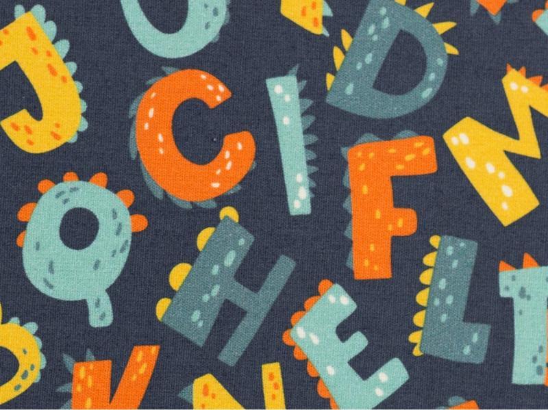 Baumwollstoff Kim Buchstaben blau multicolour