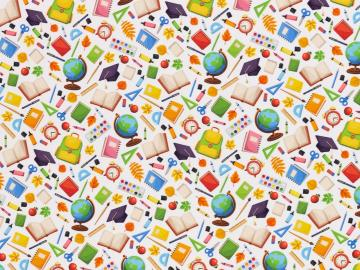 Baumwollstoff Kim Schule weiß- multicolour