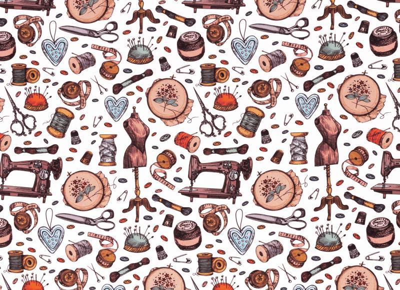 Baumwollstoff Kim Nähutensilien weiß-multicolour