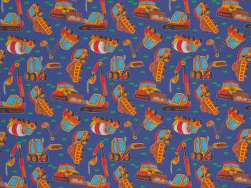 Baumwollstoff Kim Baufahrzeuge blau