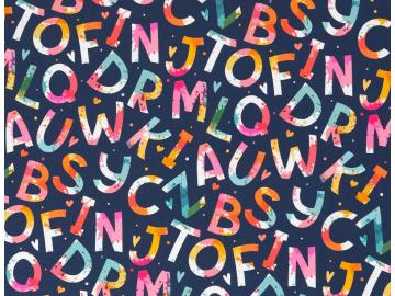 Baumwollstoff Kim Buchstaben blau- multicolour