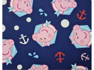 Baumwollstoff, Peppa Pig (Wutz) maritim, dunkelblau