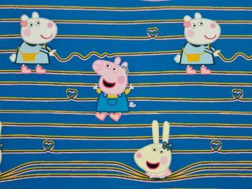 Baumwollstoff, Peppa Pig (Wutz) mit Freunden blau
