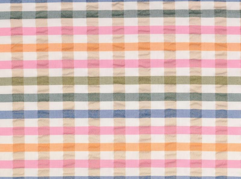 Baumwollstoff, Seersucker karriert pastell