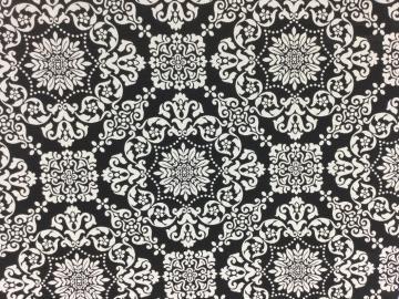 Canvas Florales Muster schwarz weiß durchgewebt