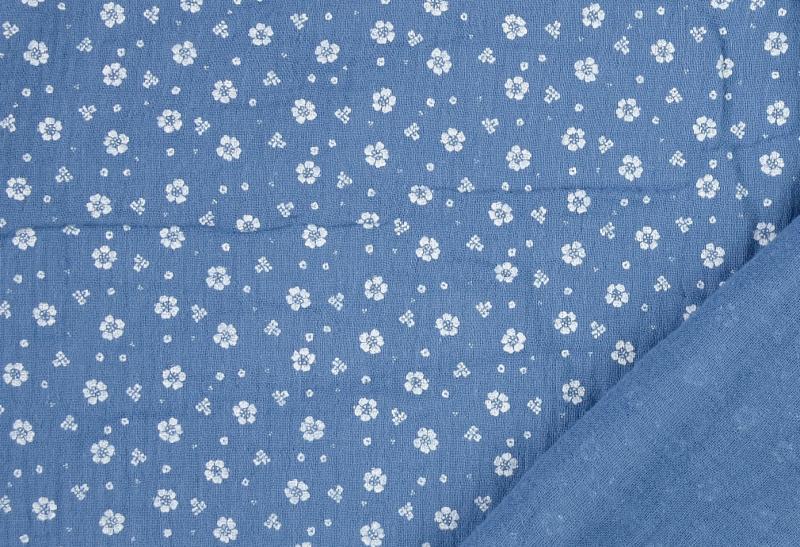 Double Gauze geblümt jeansblau