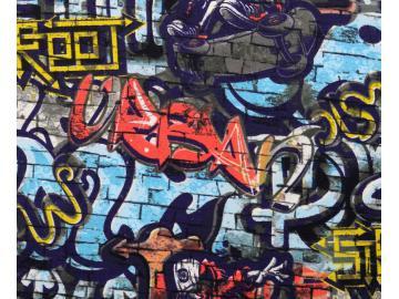 French Terry, BW, Grafeti  multicolour