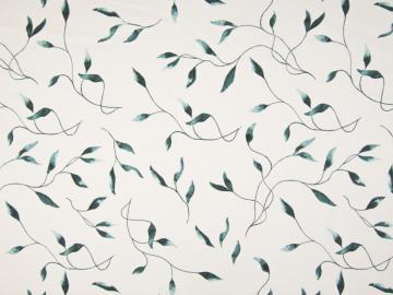 Jersey BW,Blätterzweige ecru-grün