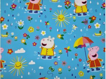 Jersey, BW Peppa Pig (Wutz) auf der Blumenwiese türkis