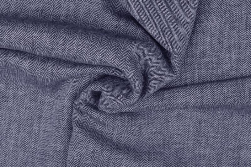 Leinen-Baumwolle  Fischgrat blau