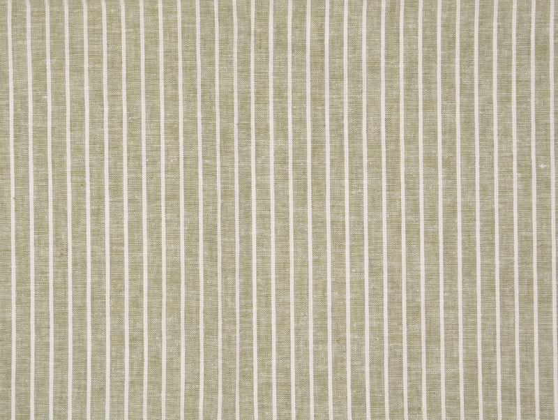 Leinen-Baumwolle  Streifen oliv