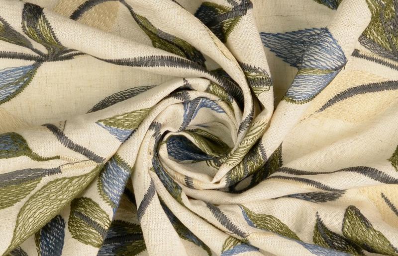 Leinen-Viskose  Blätter  gestickt, natur-grün-blau