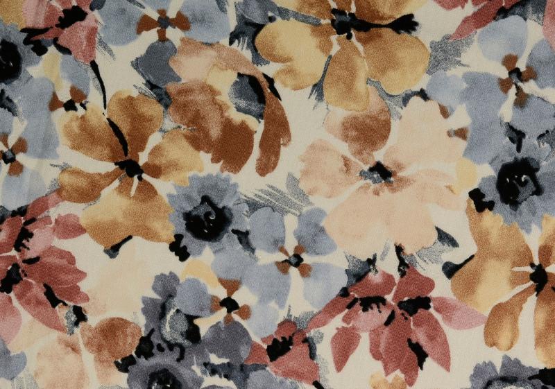 Leinen-Viskose  Blüten, multicolour