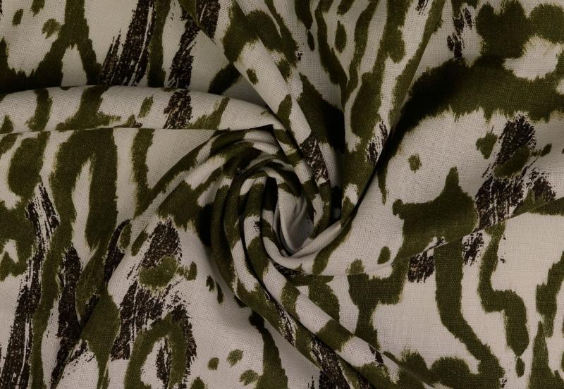 Leinen-Viskose Animal  Style  oliv