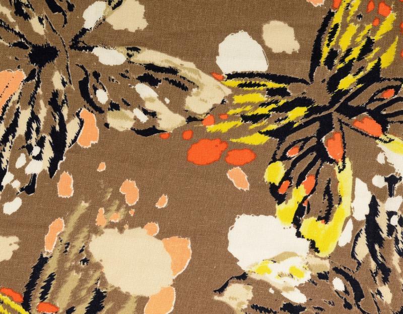 Leinen-Viskose Schmetterlinge, braun multicolour