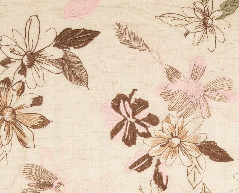 Leinen-Viskose gestickte Blüten, beige-braun-rose uni gewaschen, natur