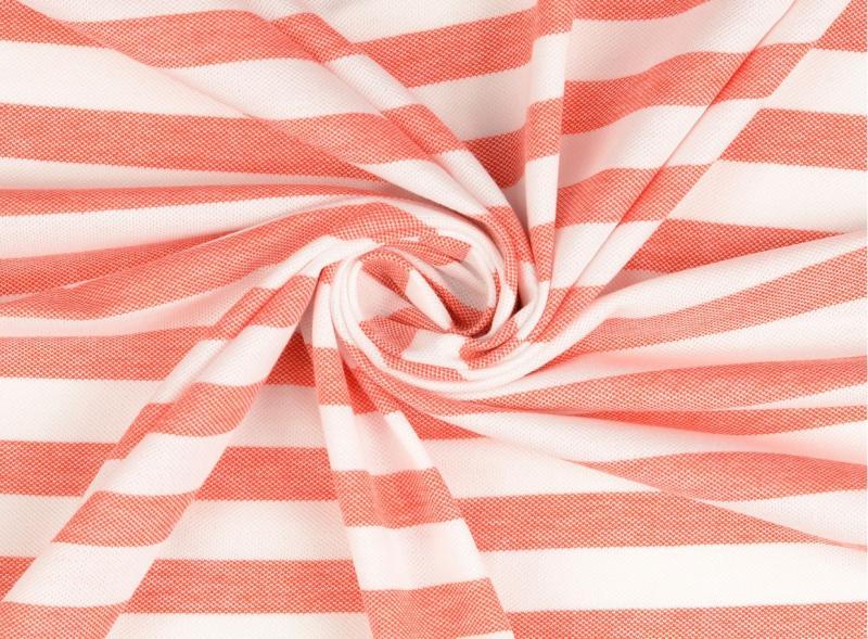 Piquue, Baumwolle  gestreift rot-weiß