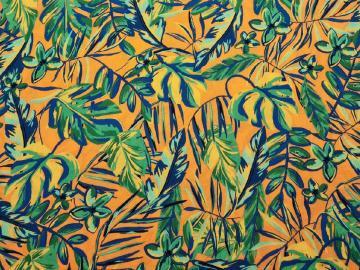 Tencel Blätter  orange-grün-blau