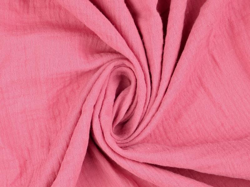 Double Gauze uni dunkel rose