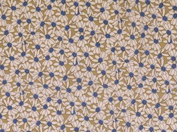 Viskose Druck Blütenmeer, kahki-weiß-blau
