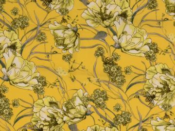 Viskose Druck Blumenranken gelb