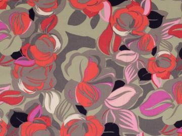 Viskose Druck Blüten grau-pink-rot