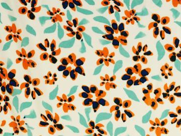 Viskose,Blüten orange-türkis-blau